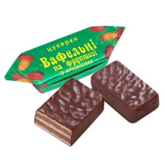 Конфеты шоколадно-вафельные на фруктозе с арахисом
