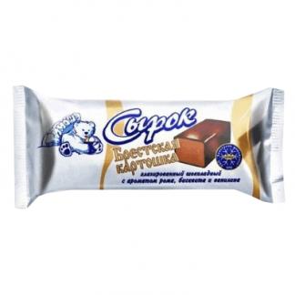 Сырок глазированный с шоколадом, бисквитом и ромом 45 гр. חטיף גבינה בטעם קקאו, ביסקוויט ורום