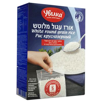 Рис круглозерный в пакетиках для варки УВЕЛКА 5x80 гр.