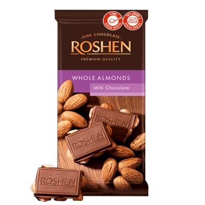Шоколад Рошен молочный с миндалем 90 гр. שוקולד חלב עם שקדים