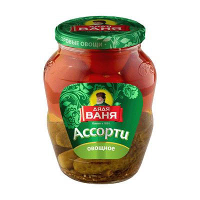 Ассорти огурцы с помидорами Дядя Ваня 680 гр.